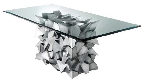 delaunay : table à manger en harmonie avec le verre et le métal