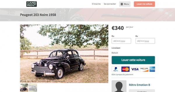 Peugeot 203 Noire 1958   Car2rent